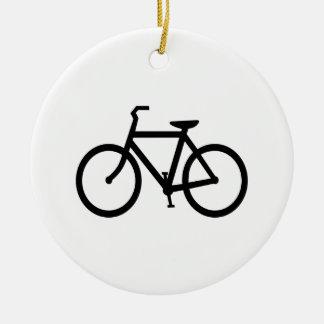 Black Bike Route Ceramic Ornament