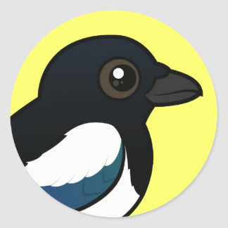 Black-billed Magpie Classic Round Sticker