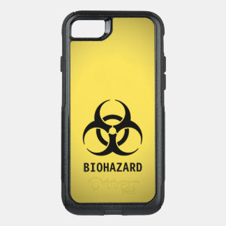 Black Biohazard Symbol on Yellow OtterBox Commuter iPhone 8/7 Case
