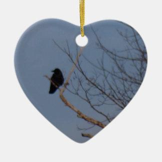 Black Bird Ceramic Heart Decoration