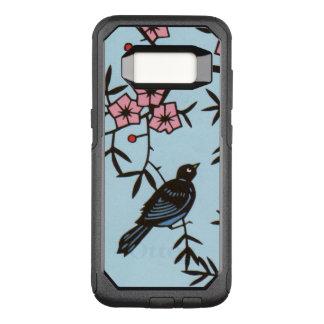 Black Bird in Tree Pretty Pink Flowers OtterBox Commuter Samsung Galaxy S8 Case
