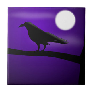Black Bird on Branch Purple Sky Full Moon Tile