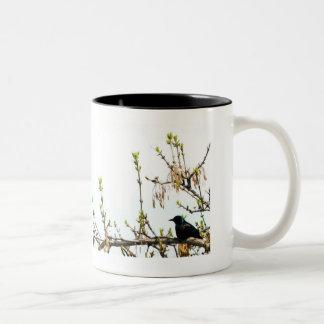 black bird on branch Two-Tone coffee mug