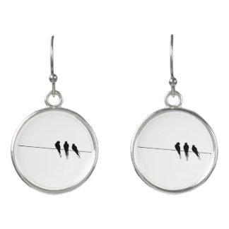 Black Birds on a Wire Silhouette Earrings