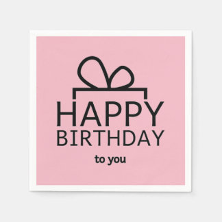 Black Birthday Design On Pink Disposable Napkin