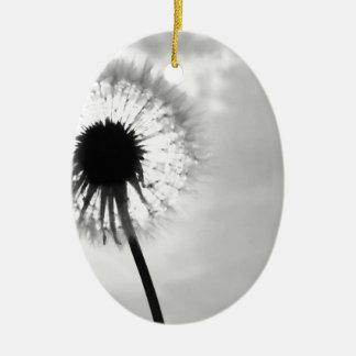 Black blank dandelion Black and White Dandelion Ceramic Oval Decoration