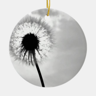 Black blank dandelion Black and White Dandelion Round Ceramic Decoration