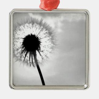 Black blank dandelion Black and White Dandelion Silver-Colored Square Decoration