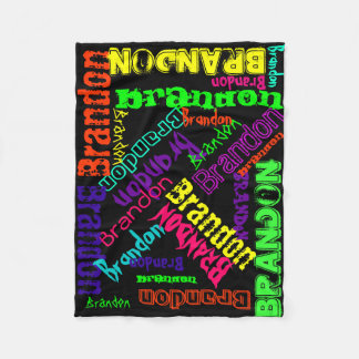Black Blanket Colourful Bright Neon Name Collage
