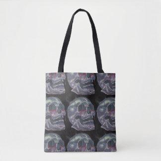 Black Bleeding eyes Skull tote Bag