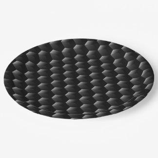 Black block mesh paper plate
