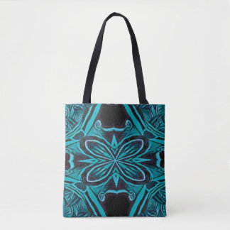 Black Blue Abstract Art Deco Tote Bag Purse