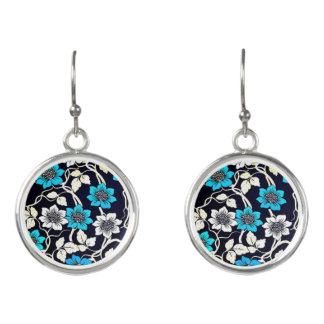 Black, Blue and Cream Floral Earrings
