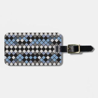 Black, Blue and Gray Diamond Tile Pattern Luggage Tag