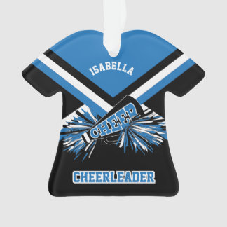 Black, Blue and White Cheerleader Ornament