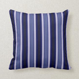 Black, Blue and White Striped Throw Pillow