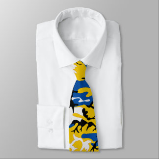 Black Blue and Yellow Camo Tie