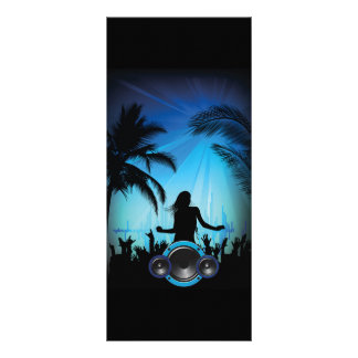 BLACK BLUE BEACH PARTY DANCING MUSIC PALM TREES FU RACK CARD DESIGN
