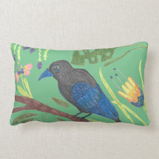 Black & Blue Bird of Paradise Lumbar Cushion