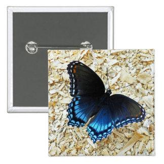 Black Blue Butterfly Button