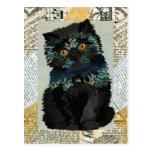 Black & Blue Cat Postcard