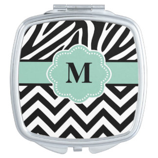 Black Blue Chevron Zebra Monogram Travel Mirror