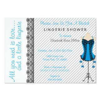 Black & Blue Corset Lingerie Bridal Shower Invite