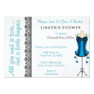 "Black & Blue Corset Lingerie Bridal Shower Invite 5"" X 7"" Invitation Card"