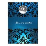 BLACK & BLUE DAMASK GEM STONE MONOGRAM white 11cm X 16cm Invitation Card