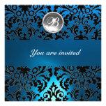 BLACK & BLUE DAMASK GEM STONE MONOGRAM white Invitations