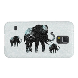 Black & Blue Floral Elephant Case For Galaxy S5