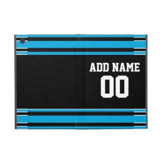 Black Blue Football Jersey Custom Name Number Cases For iPad Mini