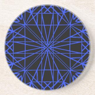 Black & Blue Geometric Symmetry Coaster