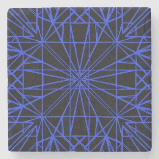 Black & Blue Geometric Symmetry Stone Coaster