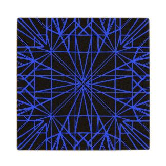 Black & Blue Geometric Symmetry Wood Coaster