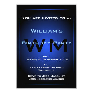 Black & Blue Glow Monogram Sci-fi - Invitation