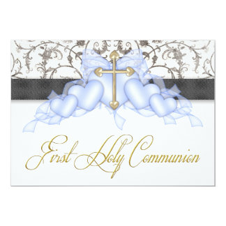 Black Blue Gold Cross Boys Blue First Communion Card