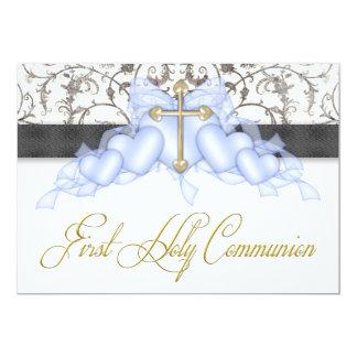 Black Blue Gold Cross Boys Blue First Communion Card
