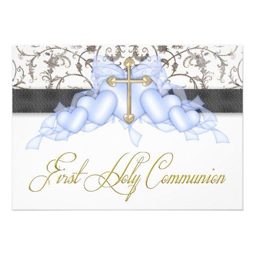 Black Blue Gold Cross Boys Blue First Communion Personalized Announcement