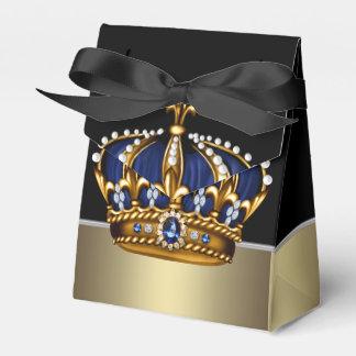 Black Blue Gold Crown Prince Baby Shower Wedding Favour Box