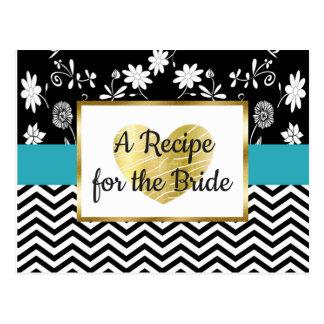 Black, Blue Gold Stripe Floral Wedding Recipe Card