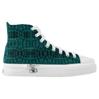 Black/blue Gothic Custom Zipz High Top Shoes Printed Shoes