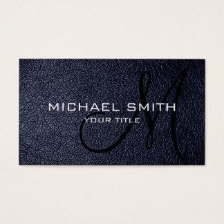 Black Blue leather Business Card