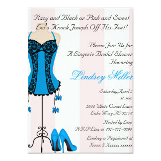 "Black & Blue Lingerie Bridal Shower Invitation 4.5"" X 6.25"" Invitation Card"