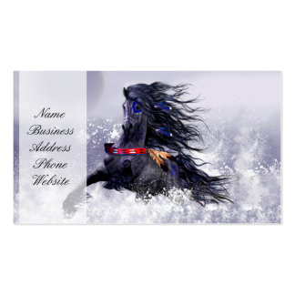 Black Blue Majestic Stallion Indian Horse in Snow Double-Sided Standard Business Cards (Pack Of 100)