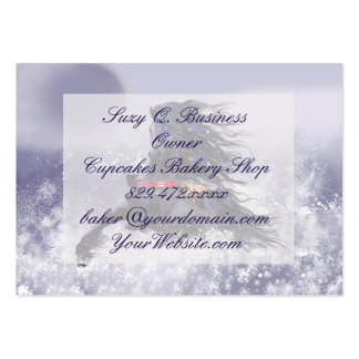 Black Blue Majestic Stallion Indian Horse in Snow Large Business Cards (Pack Of 100)