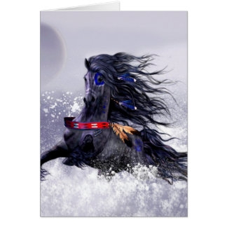 Black Blue Majestic Stallion Indian Horse in Snow Greeting Card