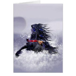 Black Blue Majestic Stallion Indian Horse in Snow Card