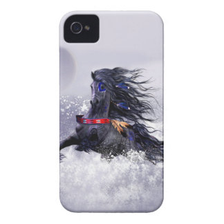 Black Blue Majestic Stallion Indian Horse in Snow Case-Mate iPhone 4 Case
