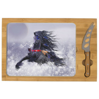 Black Blue Majestic Stallion Indian Horse in Snow Rectangular Cheese Board